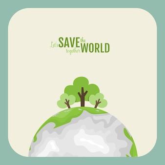 Eco amigável. conceito de ecologia com green eco earth e árvores. ilustração.
