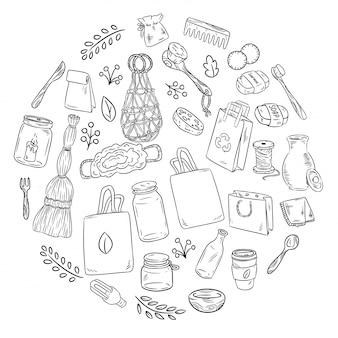 Eco amigável conjunto de rabiscos em um círculo. recolha de itens ecológicos e de lixo zero. ir verde