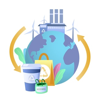 Eco amigável planeta terra, saco reutilizável, copo, turbinas eólicas, ilustração vetorial. planeta limpo. energia verde. desperdício zero
