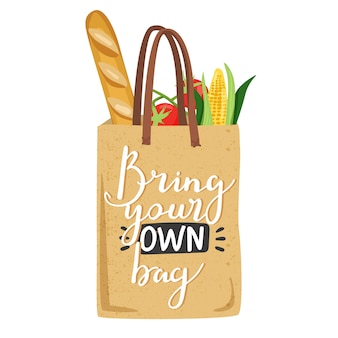 Eco bag com legumes para eco friendly living.