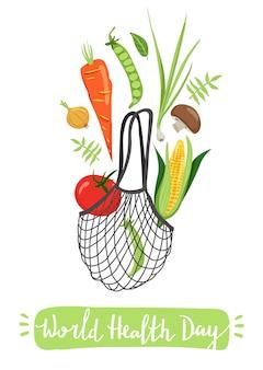 Eco bag com legumes para uma vida ecológica.
