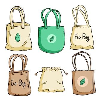 Eco bag definir ilustração com estilo colorido mão desenhada Vetor Premium