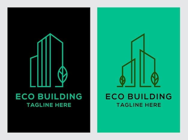 Eco building real estate logo set icon design templategreen