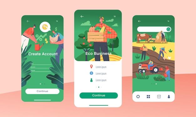 Eco business mobile app página modelo de tela a bordo. personagens de fazendeiros criam conta para conceito de produção de varejo