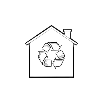 Eco casa com ícone de doodle de contorno desenhado de mão de símbolo de reciclagem. ecologia, proteção da natureza, conceito de reciclagem
