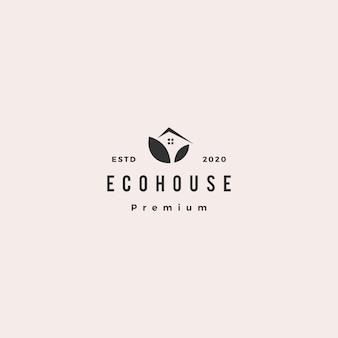 Eco casa logotipo hipster retro vintage ícone