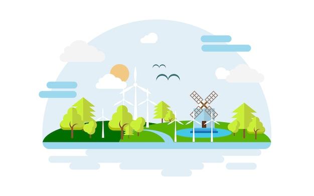 Eco cidade. cidade de energia conceito