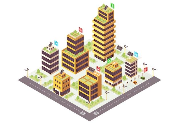 Eco cidade cor isométrica. edifícios comerciais com infográfico de grades solares.