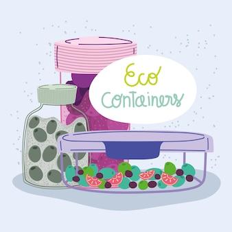 Eco containers com comida