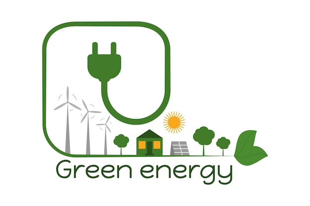 Eco de economia de energia e eletricidade verde plugue verde com moinhos de vento de fio e painel solar
