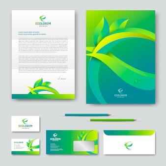 Eco design de modelo de identidade corporativa com a letra e. ilustração em vetor