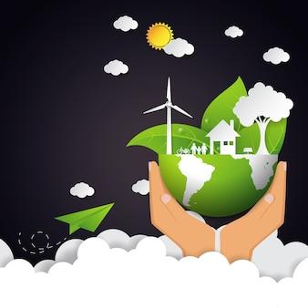Eco e conceito da natureza com a mão que guarda a terra verde.