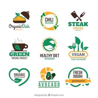 Eco emblemas de alimentos