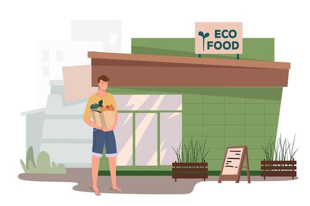 Eco food store construindo o conceito da web. homem compra legumes e frutas na loja. comprador parado com sacolas de alimentos orgânicos na entrada