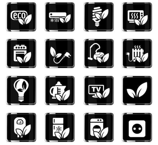 Eco ícones da web para design de interface de usuário