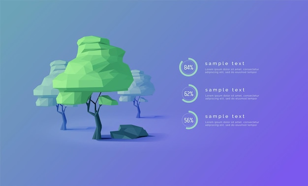 Eco infográficos com árvores de baixo poli diagramas porcentagens barra de progresso árvore 3d web infográficos banner apresentação ecologia florestal ilustração em vetor moderno fundo abstrato