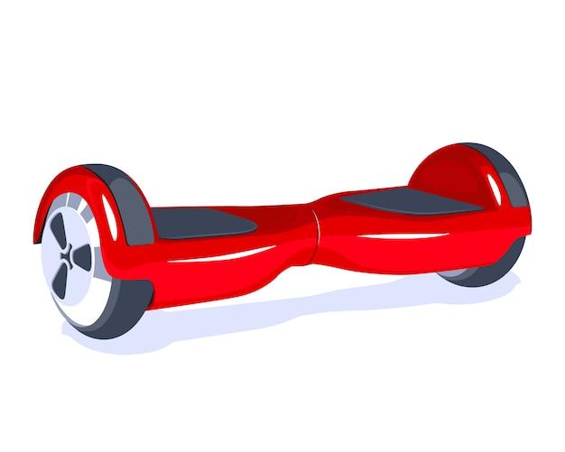 Eco moderno elétrico transporte hoverboard vermelho isolado