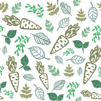 Eco padrão desenhado de mão sem emenda. alimentos biológicos, orgânicos. cenoura e folhas de fundo verde. ilustração vetorial