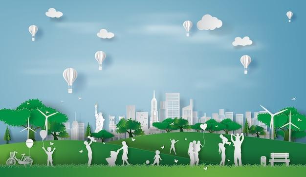 Eco, paisagem, cidade nova iorque, feliz, família