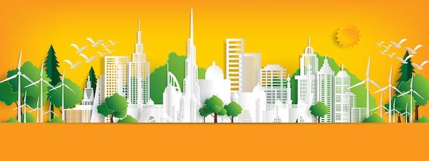 Eco paisagem com edifícios em papel cortado.