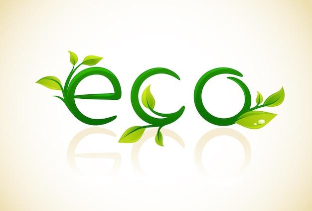 Eco - pense no símbolo verde com folhas