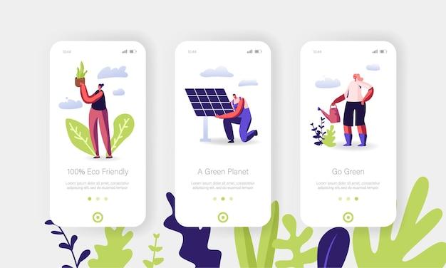 Eco power of sun, conjunto de tela onboard da página do aplicativo móvel de energia verde.