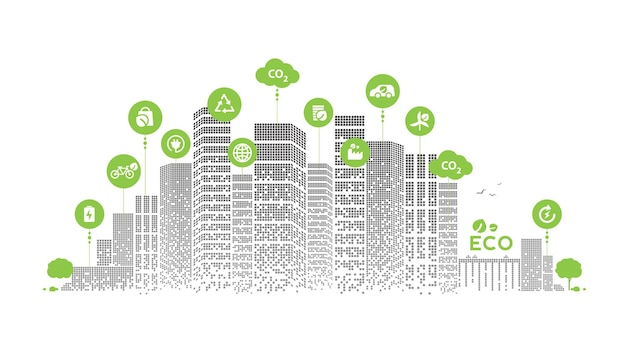 Eco tecnologia ou cidade verde moderna do conceito ambiental. estilo de vida urbano ecológico com ícones na conexão de rede. desenho vetorial.