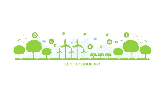 Eco tecnologia ou conceito ambiental de cidade verde moderna e folhas de planta crescendo dentro