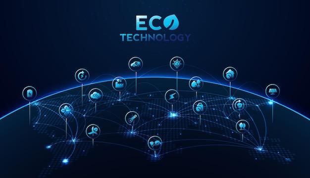 Eco tecnologia ou conceito de tecnologia ambiental com ícones de ambiente na conexão de rede. desenho vetorial.