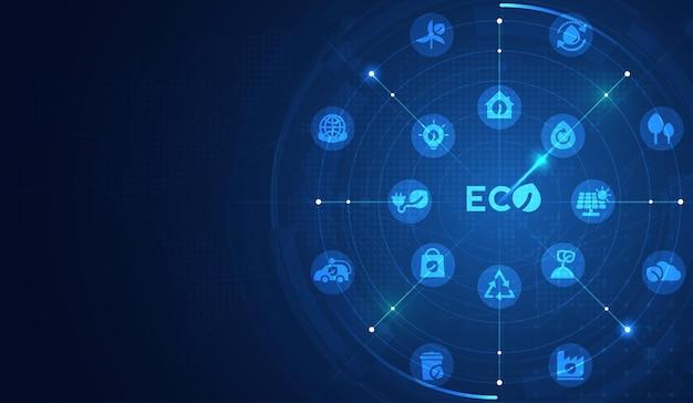 Eco tecnologia ou conceito de tecnologia ambiental com ícones de meio ambiente na rede