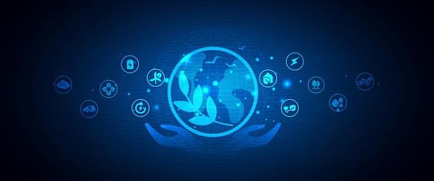 Eco tecnologia ou mão de tecnologia ambiental com ícones de meio ambiente na conexão de rede. desenho vetorial.