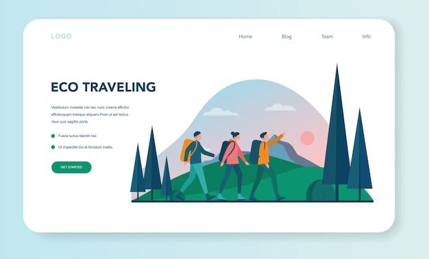 Eco-turismo e eco travelling banner ou página de destino