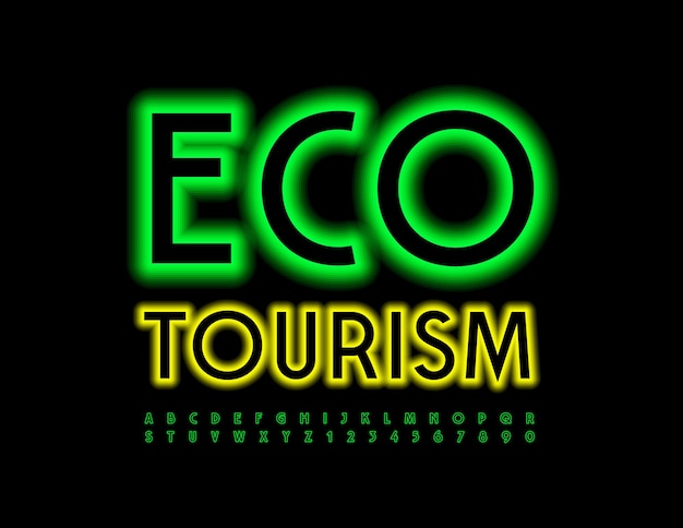 Eco turismo fonte iluminada verde letras e números do alfabeto