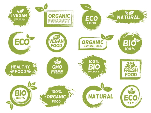 Eco verde, rótulo de produto orgânico e vegan do grunge. logotipo de alimentos frescos saudáveis. conjunto de vetores de carimbo de logotipo de pacote bio natural, sem ogm e vegetariano