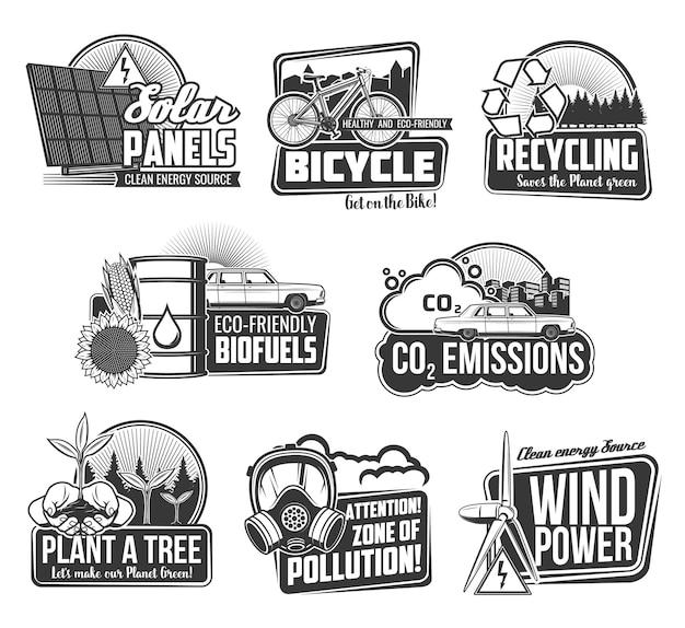 Ecologia ambiental e reciclagem de ícones de energia ecológica