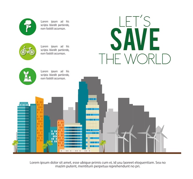 Ecologia de edifícios cidade verde cena
