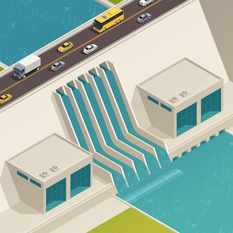 Ecologia de energia verde composição isométrica estrutura de purificação de água com uma ponte