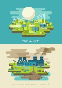 Ecologia de energia verde e conceitos de poluição do ambiente ilustrações vetoriais plana.