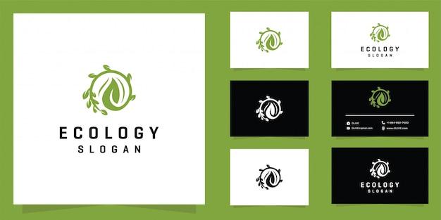 Ecologia do logotipo da folha e cartão de visita