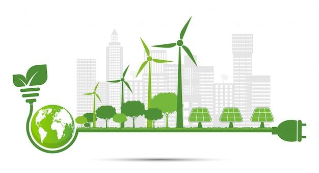 Ecologia e conceito ambiental, símbolo de terra com folhas verdes ao redor de cidades ajude o mundo com idéias ecológicas