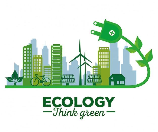Ecologia energia solar no edifício e casa