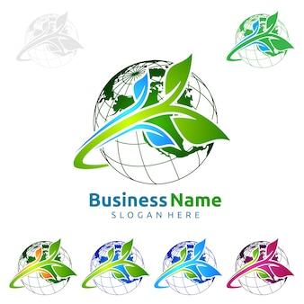 Ecologia global verde abstrata logo com anel e folha design de conceito