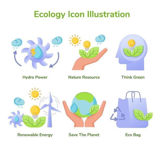 Ecologia icon set coleção hidro energia natureza recurso pense verde energia renovável salve planeta
