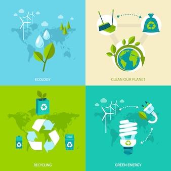 Ecologia, limpe nosso planeta, reciclagem de ícones de conceito de energia verde, conjunto de ilustração vetorial isolada.