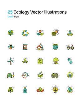 Ecologia lineal color illustration
