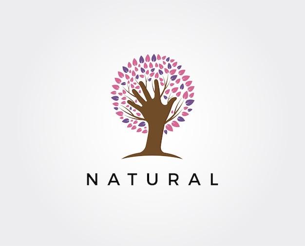 Ecologia, logotipo do ambiente natural. ícones de árvore, jardinagem ou agricultura