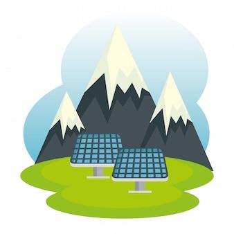 Ecologia montanhas nevadas e energia solar