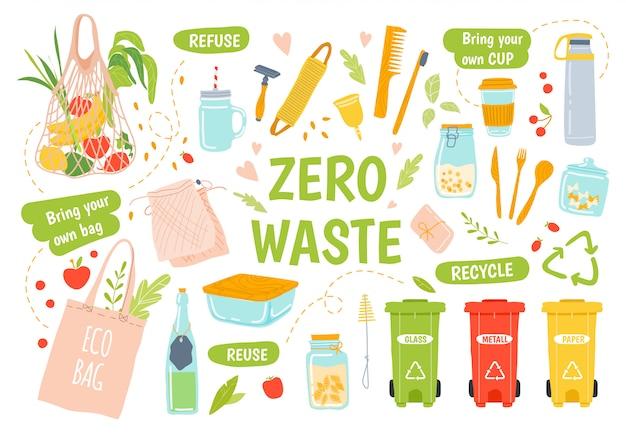 Ecologia reutilizável. zero desperdício, reciclagem e produtos reutilizáveis. a escova de dentes e a escova de cabelo de madeira, os frascos de vidro, mantêm o tampão e o grupo da ilustração do saco de mantimento do eco. lancheira ecológica. classificação de resíduos