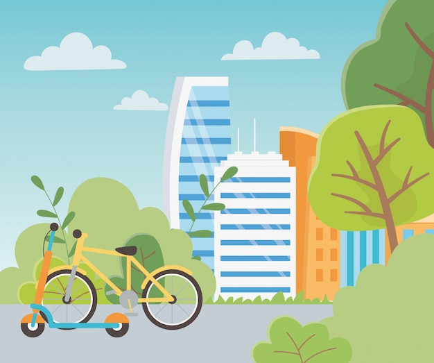 Ecologia urbana bicicleta pontapé scooter transporte rua parque