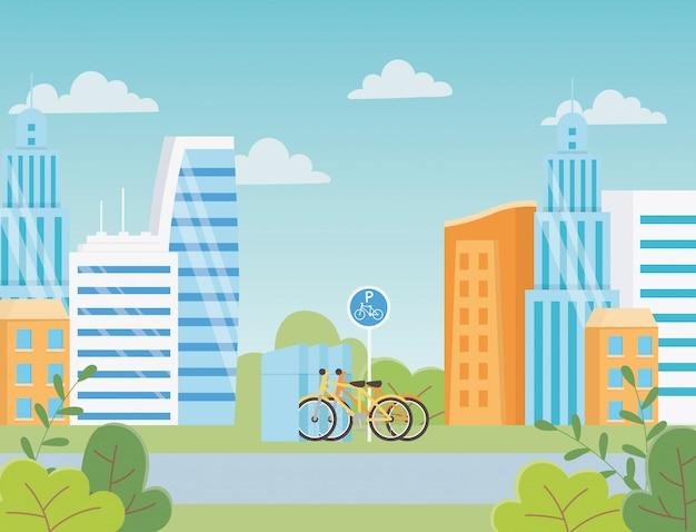 Ecologia urbana estacionamento bicicletas transporte rodoviário edifícios da cidade